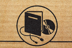 Electronic mark on cardboard Royalty Free Stock Photography