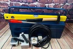 Electronic material and equipment. Toolbox with electronic material and equipment for installation stock image