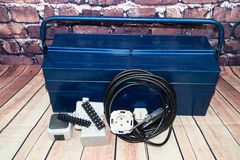 Electronic material and equipment. Toolbox with electronic material and equipment for installation royalty free stock images