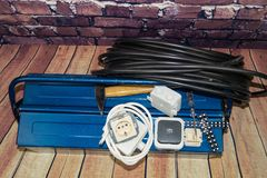 Electronic material and equipment. Toolbox with electronic material and equipment for installation stock images