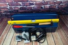 Electronic material and equipment. Toolbox with electronic material and equipment for installation stock photos