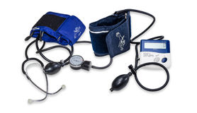 Electronic and mechanical sphygmomanometers Royalty Free Stock Images