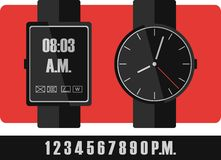 Electronic and mechanical wrist watch, classic or technology Royalty Free Stock Images