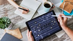 Electronic medical Health record information system on device screen. Modern technology in medicine as concept. Electronic medical Health record information royalty free stock photos