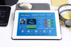 Electronic medical record on tablet. Stock Image