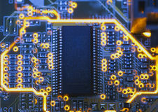 Electronic microcircuit and microchip. Close up Stock Photos