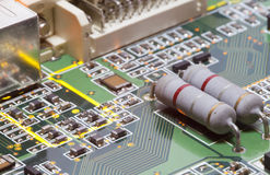 Electronic microcircuit and microchip. Close up Stock Photo