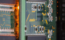 Electronic microcircuit and microchip. Close up Royalty Free Stock Image