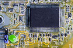 Electronic microcircuit and microchip. Close up Stock Photography