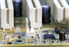 Electronic microcircuit and microchip. Close up Royalty Free Stock Photo