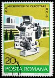 Electronic microscope, Industrial Development serie, circa 1978. MOSCOW, RUSSIA - FEBRUARY 10, 2019: A stamp printed in Romania shows Electronic microscope stock photo