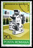 Electronic microscope, Industrial Development serie, circa 1978. MOSCOW, RUSSIA - FEBRUARY 10, 2019: A stamp printed in Romania shows Electronic microscope royalty free stock photo