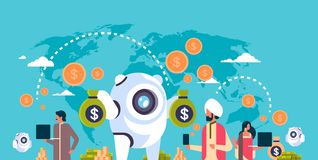 Electronic money banking bot indian people using e-payment application global online payment transactions concept royalty free illustration