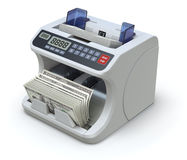 Electronic money counter. With dollar banknotes - 3D illustration on white background stock illustration