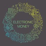Electronic money. Modern linear concept of electronic money in circle with thin line icons. Electronic money. Set of line icons for finance, e-commerce vector illustration