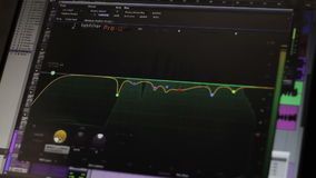 Electronic Monitor editor in professional sound stock video footage