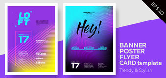Electronic Music Covers for Summer Fest or Club Party Flyer. Colorful Waves Gradient Background. Template for DJ Poster, Web Banner, Pop-Up vector illustration