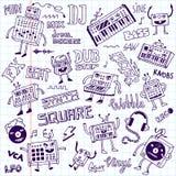 Electronic music. Doodle set. School notebook. vector illustration