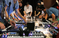 Electronic music equipment testing Stock Photo