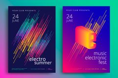 Electronic music fest. And electro summer poster. Modern club party flyer. Abstract gradients music background stock illustration