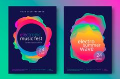Electro summer wave music poster. Electronic music fest and electro summer wave poster. Club party flyer. Abstract gradients waves music background royalty free illustration