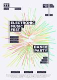 Electronic music fest summer party poster modern color minimalist style. Dance festival. Vector Illustration 10 eps Stock Photos