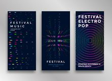 Electronic music festival. Minimal poster design. Modern colorful dotted lines background for flyer, cover. Vector illustration royalty free illustration