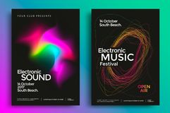 Electronic music festival poster. With abstract gradient lines. Vector template design for flyer, presentation, brochure Stock Photo
