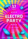Electronic music festival poster design. Rainbow background Gradient fluid shapes. Futuristic geometric background. Electro party flyer, Club invitation vector illustration