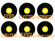 Electronic Music Genres Vinyl 7 Royalty Free Stock Photo