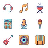 Electronic music icons set, flat style. Electronic music icons set. Flat set of 9 electronic music vector icons for web isolated on white background Stock Photo