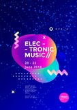Electronic Music poster. Design. Sound flyer with abstract geometric shape. Vector template royalty free illustration
