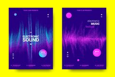 Electronic Music Posters Concept. Electronic Music Poster. Sound Equalizer Vector Design. Amplitude of Wave Lines. Futuristic Flyer for Electronic Music Event vector illustration
