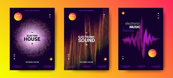 Electronic Music Posters with Sound Amplitude. Electronic Music Festival Design Flyer. Abstract Wave Posters Set for Dance Event. Amplitude of Distorted Dotted vector illustration