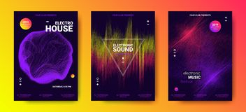 Electronic Music Posters with Sound Amplitude. Electronic Music Festival Design Flyer. Abstract Wave Posters Set for Dance Event. Amplitude of Distorted Dotted royalty free illustration
