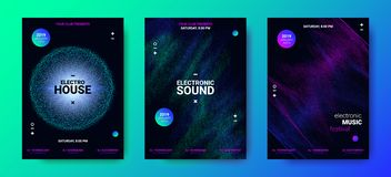 Electronic Music Posters with Sound Amplitude. Electronic Music Movement Concept. Sound Amplitude of Distorted Dotted Color Lines. Vector Equalizer Design. Wave vector illustration