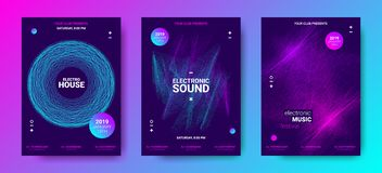 Electronic Music Posters with Sound Amplitude. Electronic Music Poster Concept. Amplitude of Distorted Dotted Color Lines. Abstract Covers for Dance Event stock illustration