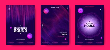 Electronic Music Posters with Sound Amplitude. Wave Amplitude of Sound. Electronic Music Poster with Distorted Rounds and Wave Dotted Lines. Futuristic Flyer vector illustration