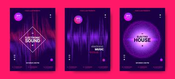 Electronic Music Posters with Sound Amplitude. Wave Amplitude of Sound. Electronic Music Poster with Distorted Rounds and Wave Dotted Lines. Futuristic Flyer royalty free illustration