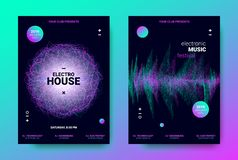 Electronic Trance Music Promotion Design. Electronic Music Posters. Trance Music Festival Promotion. Vector Wave Sound Amplitude Design. Abstract Sound Poster royalty free illustration