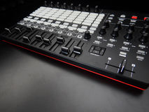 Electronic musical instrument or audio mixer or sound equalizer on a black background analog modular synthesizer Stock Images