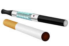 Electronic and normal cigarette Royalty Free Stock Photography