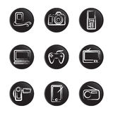 Electronic object icon set 2 Royalty Free Stock Images