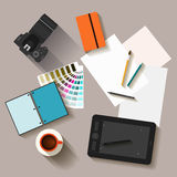 electronic objects with long shadows used in everyday life of people, flat style Royalty Free Stock Images