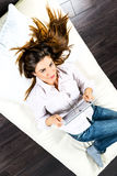 Electronic pad woman Stock Photo