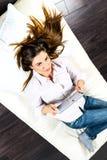 Electronic pad woman Stock Photo