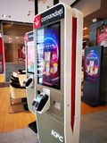 Electronic panel to order food at KFC restaurant, Romania. Kentucky Fried Chicken is a chain of American restaurants owned by Yum! Brands, Inc., based in stock image