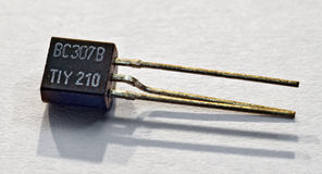 Electronic part transistor. Near view of the electronic part transistor Royalty Free Stock Image
