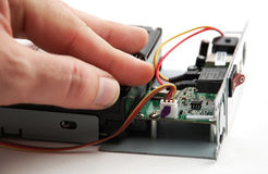 Electronic parts and circuits Stock Photos