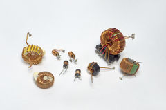 Electronic parts: inductors with toroid core and high-frequency Royalty Free Stock Images